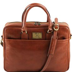 "Tuscany Leather Urbino leren laptoptas 15,6"" cognac"