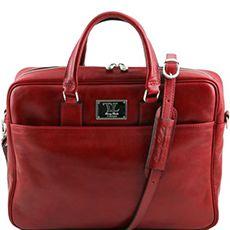 "Tuscany Leather Urbino leren laptoptas 15,6"" rood"