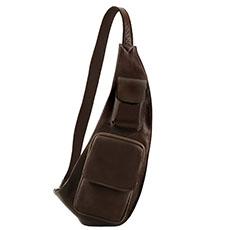 Tuscany Leather leren crossover bag darkbrown